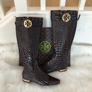 Tory Burch leather embossed gold logo brown boots